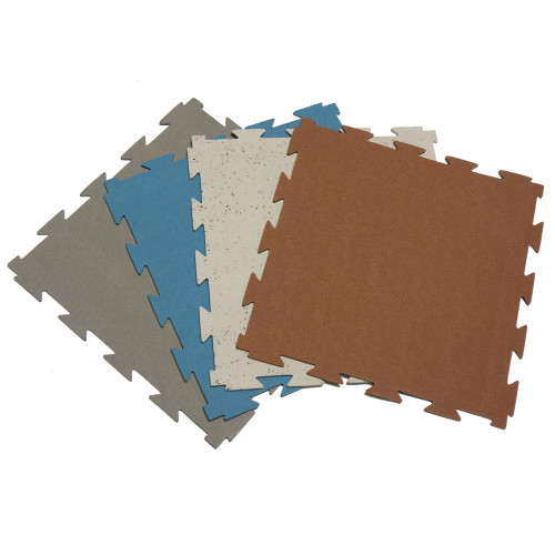 Multi-color fanned-spread of Terra-Flex Interlocking Tiles
