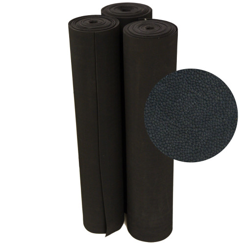 Standing rolls of Tuff-n-lastic anti-slip flooring, with a close-up of texture