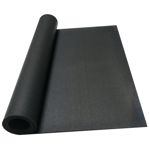 Elephant bark rubberized flooring rolled out on floor