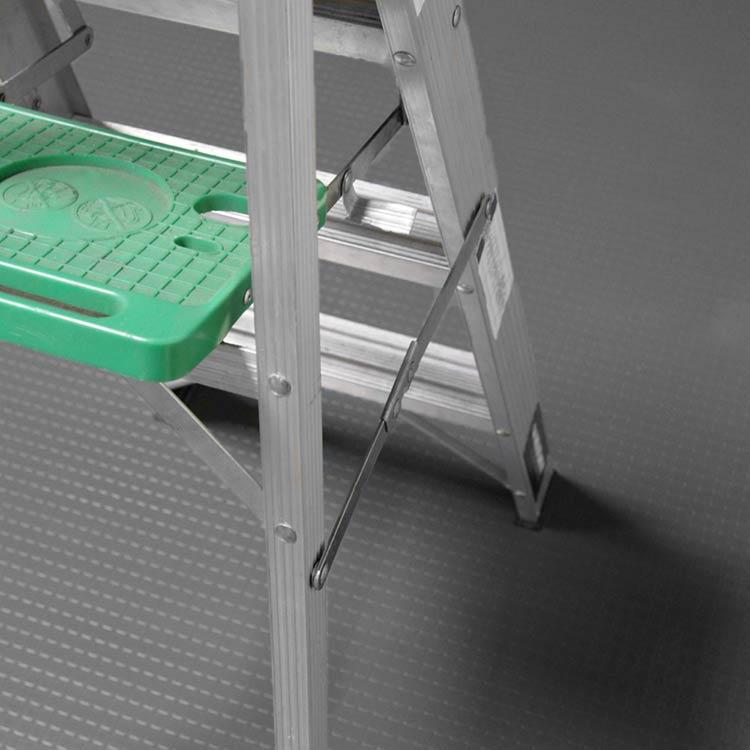 Dark Gray Block Grip Rolled Garage Mat Under Ladder