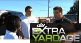 People talking outside with an Extra Yardage logo overlay