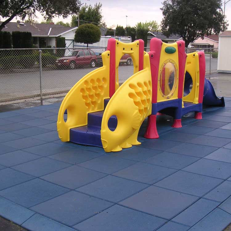 Blue Eco Safety Rubber tiles under jungle gym playground