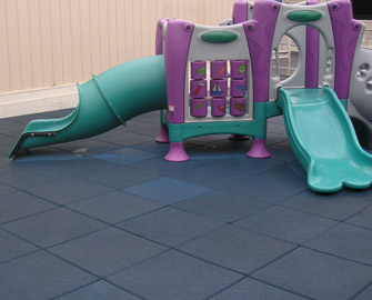 Blue Eco-Safety Floor under a small jungle gym