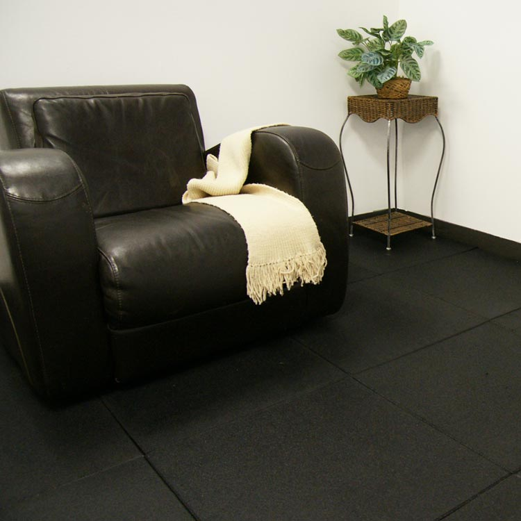 Black Eco Sport Interlocking Rubber Flooring Tiles by couch