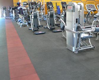 Exercise Machines on black Elephant Bark Rubber Floor