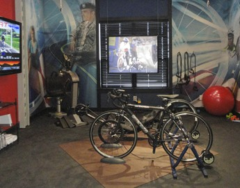Elephant Bark Rubber flooring under bike stand and exercise equipment