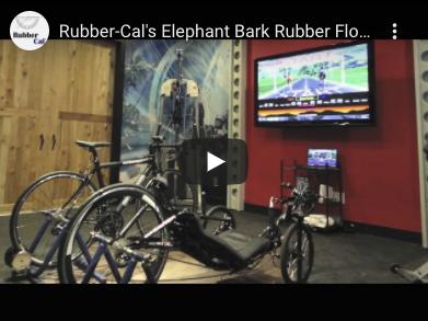 Exercise Bikes in front of tv on Elephant bark floor