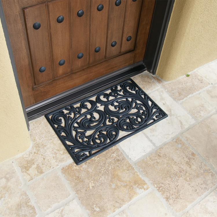 Genoa pattern rubber doormat on tile in front of door