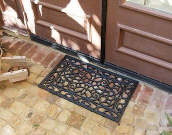 Orion Rubber Doormat in front of double doors