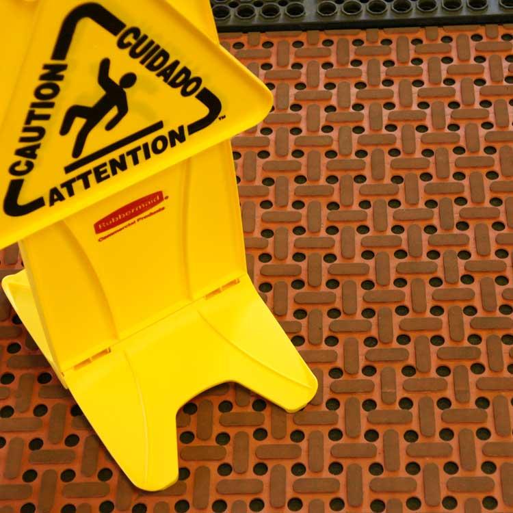 Red Paw Grip non slip Rubber Runner Mat in a bathroom