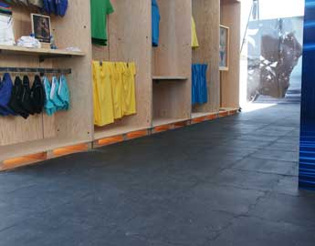 Black Interlocking Tile Floor for a temporary shop