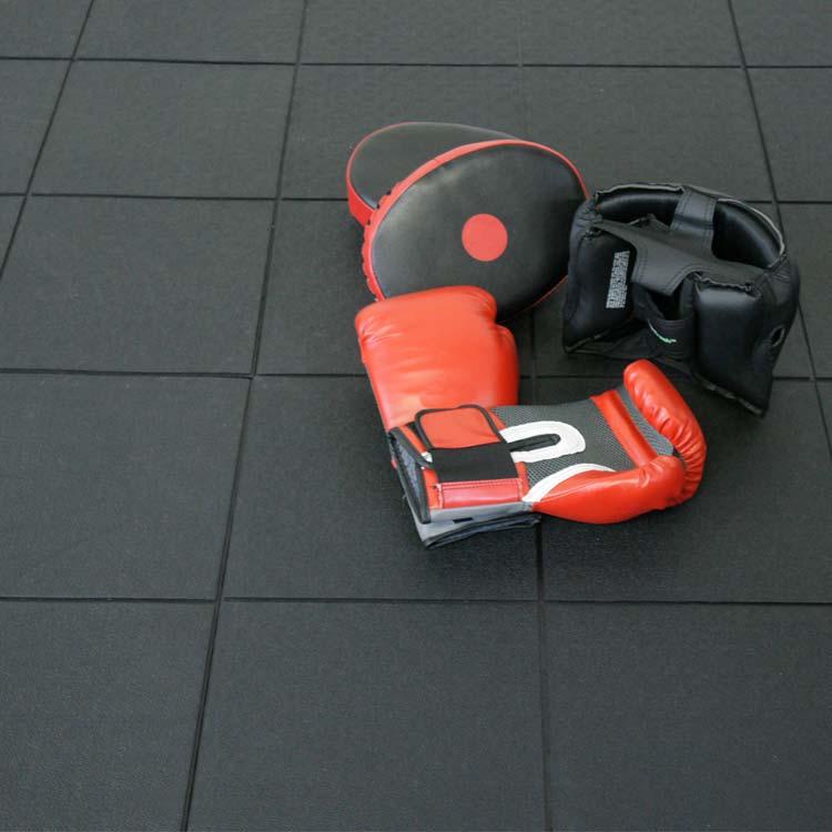Boxing gloves and training equipment on Revolution Interlocking Tiles