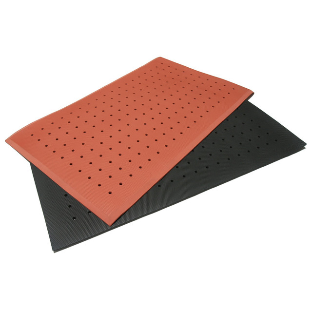 Dura-Scraper Rubber Doormat outside of glass door