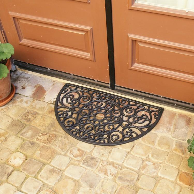 Sonoma Coast Rubber Doormat outside of double doors on brick floor