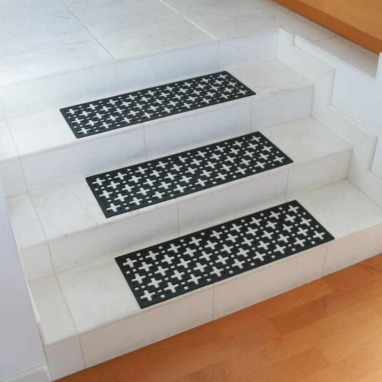black step rubber stair treads outside marble stairways