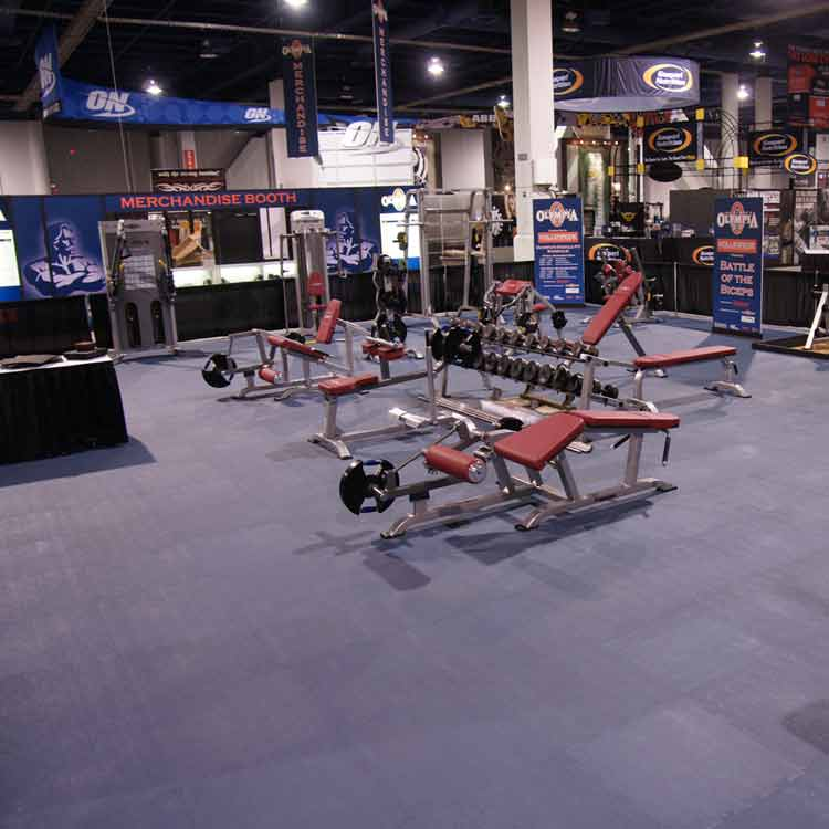 Blue Terra Flex Floor under many weight benches and exercise equipment