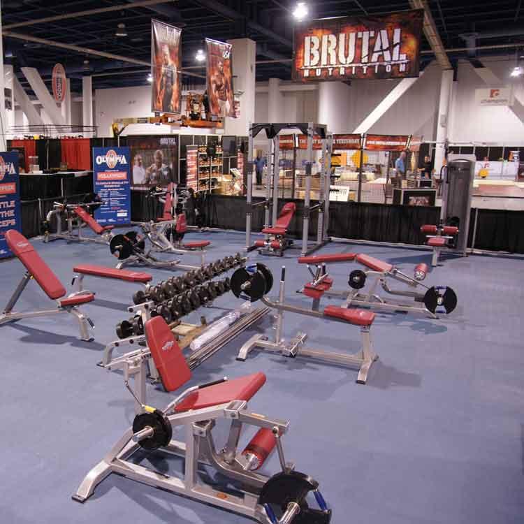 Gym set up on top of Terra Flex Interlocking Tile Floor