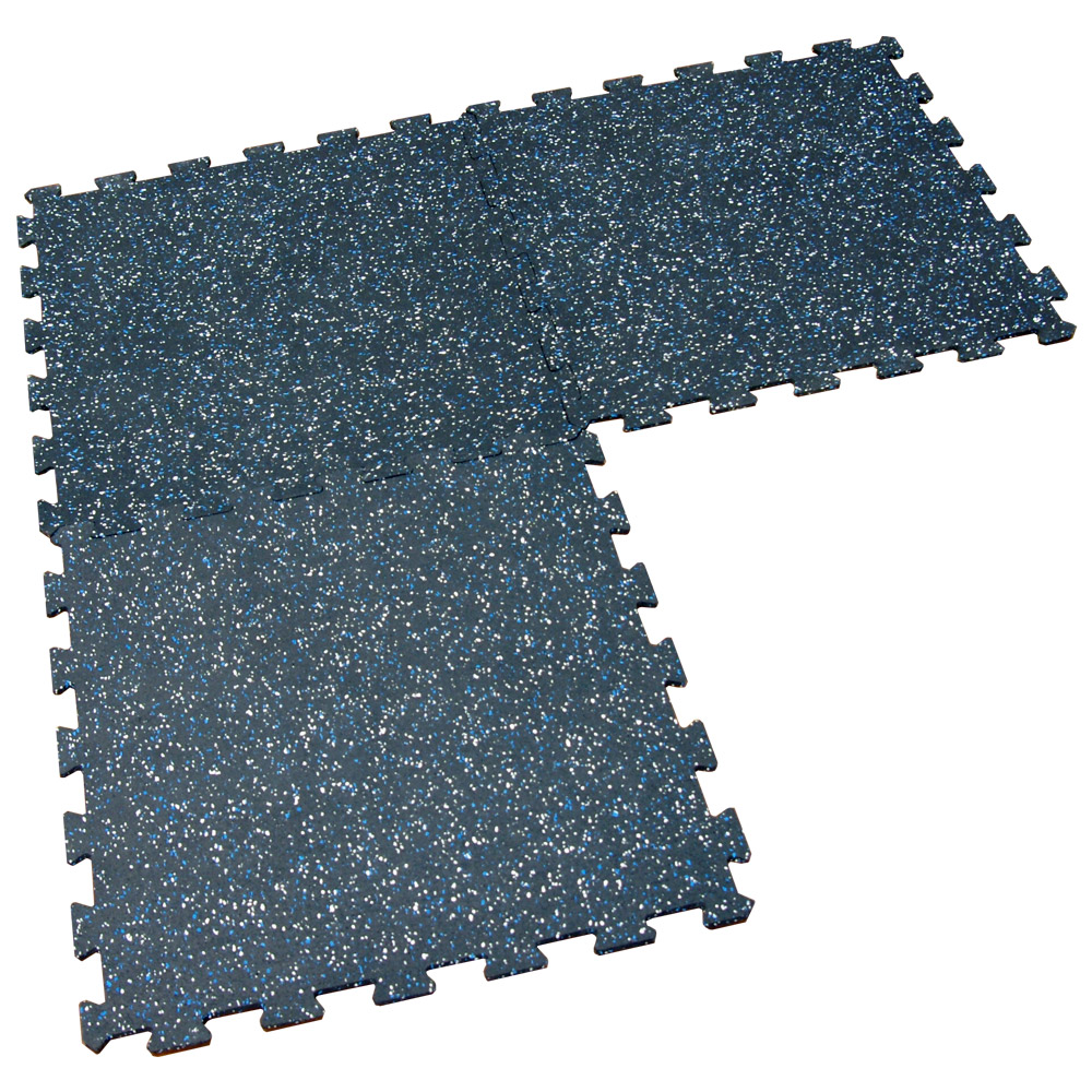 Three Blue and White Speckled Goodyear ReUz Tiles Connected
