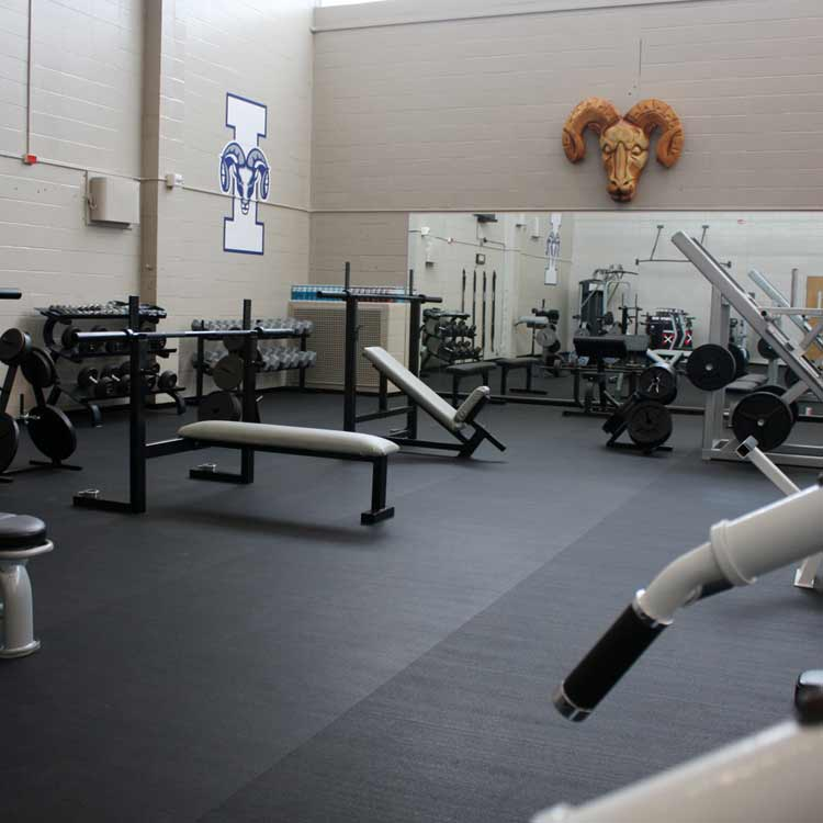 Z Cycle Roll Flooring under weight benches and weight equipment