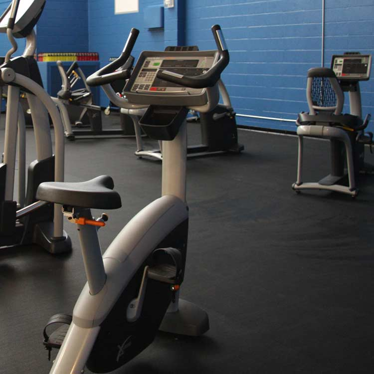 Exercise equipment on Z Cycle Rubber Flooring