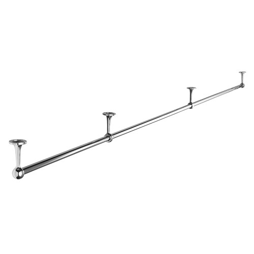 3m Suspended Chrome Tube Hanging Rail with 2 Support Arms