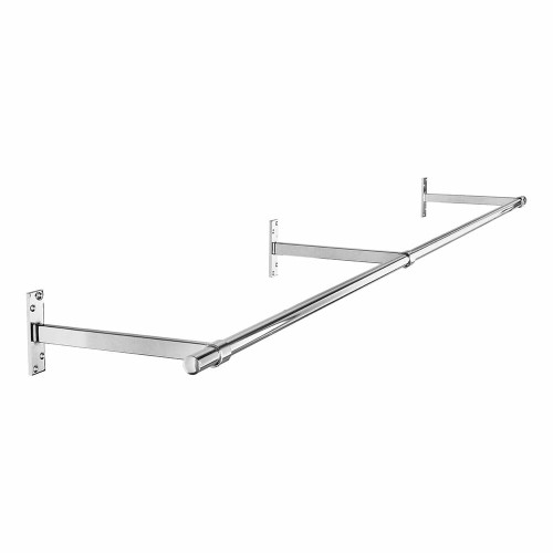 2m Wall-Mounted Chrome Tube Hanging Rail with 3 Support Arms