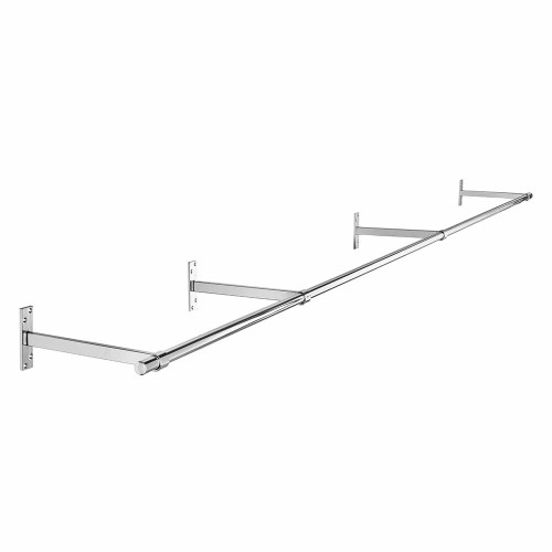 3m Wall-Mounted Chrome Tube Hanging Rail with 4 Support Arms