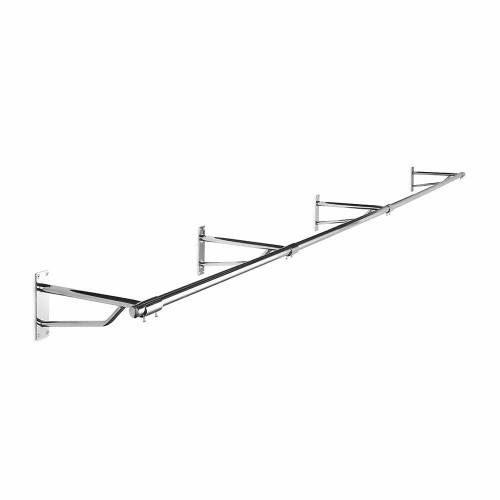 3m Heavy Duty Wall-Mounted Chrome Tube Hanging Rail with 4 Support Arms