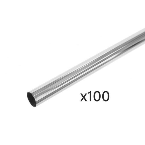 Pack of 100 Chrome Tube Hanging Rails - Length 1000mm - 25mm Diameter