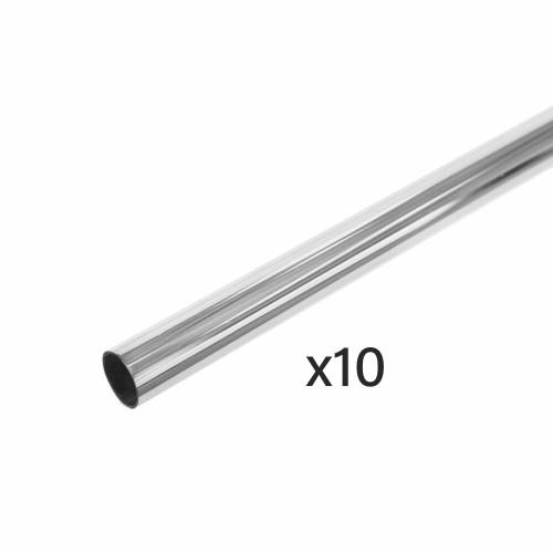 Pack of 10 Chrome Tube Hanging Rails - 25mm Diameter