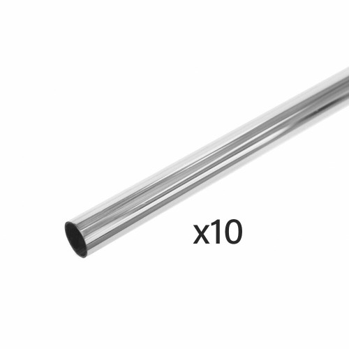 10 Pack Chrome Tube Hanging Rails - 25mm Diameter