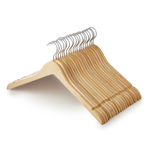 Wooden Shirt Hangers with Shoulder Notches - 45 cm
