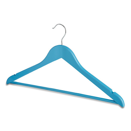Pack of Matt Blue Wooden Hangers with Trouser Bar and Shoulder Notches