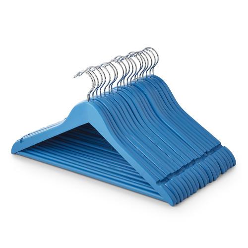 Matt Blue Wooden Hangers with Trouser Bar and Shoulder Notches - 45 cm