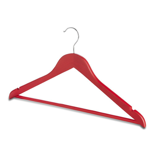 Pack of Matt Red Wooden Hangers with Trouser Bar and Shoulder Notches
