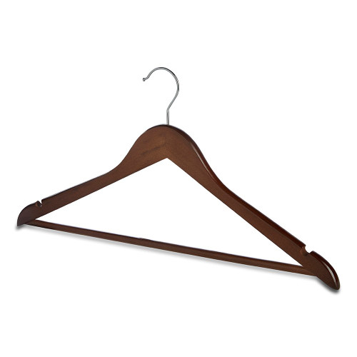 Pack of Walnut Finish Wooden Hangers with Trouser Bar and Shoulder Notches