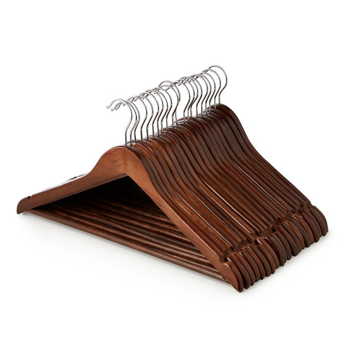 Walnut Finish Wooden Hangers with Trouser Bar and Shoulder Notches - 45 cm