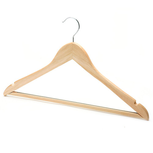 Pack of Wooden Hanger with Non-Slip Trouser Bar and Shoulder Notches