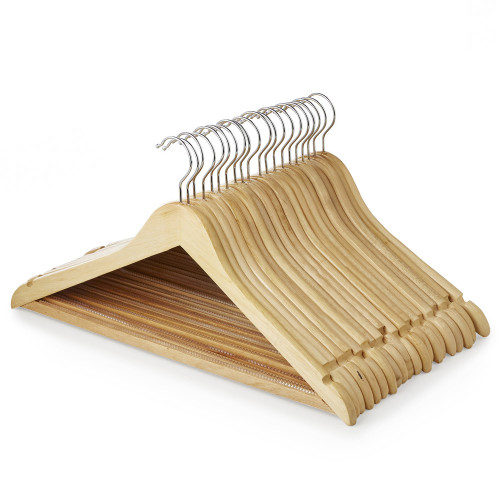 Wooden Hanger with Non-Slip Trouser Bar and Shoulder Notches - 45 cm
