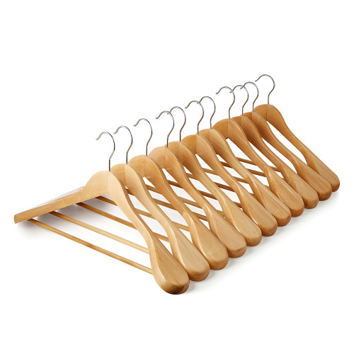 Wooden Hangers with Broad Shoulders and Trouser Bar - 45 cm