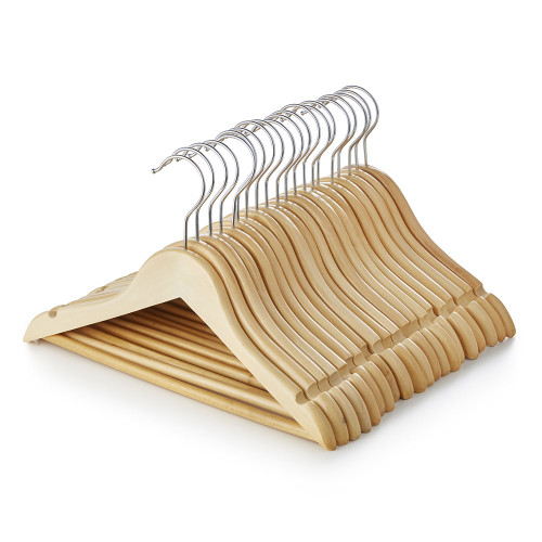 Children's Wooden Clothes Hangers with Trouser Bar and Shoulder Notches - 30.5 cm