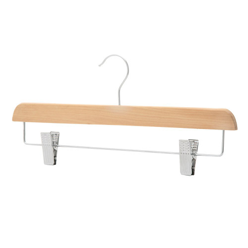 Pack of Straight Wooden Clothes Hangers with Soft-Grip Chrome Clips