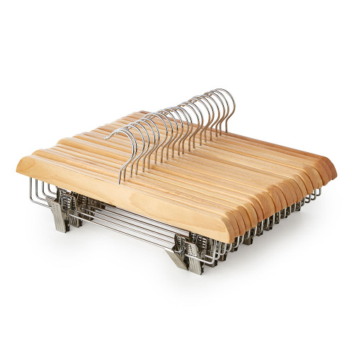 Straight Wooden Clothes Hangers with Soft-Grip Chrome Clips - 35.5 cm