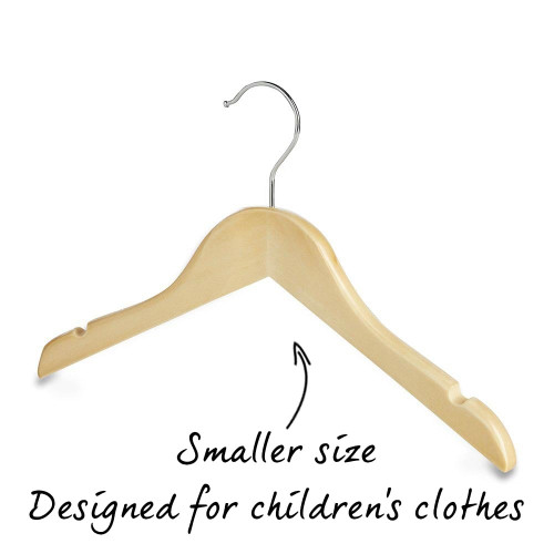 Pack of Childrens Wooden Clothes Hangers with Shoulder Notches