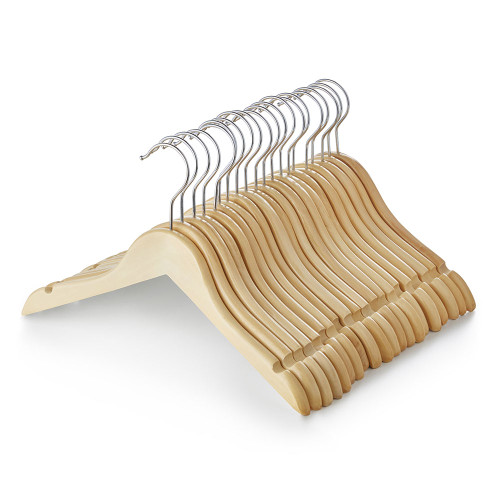 Children's Wooden Clothes Hangers with Shoulder Notches - 31 cm