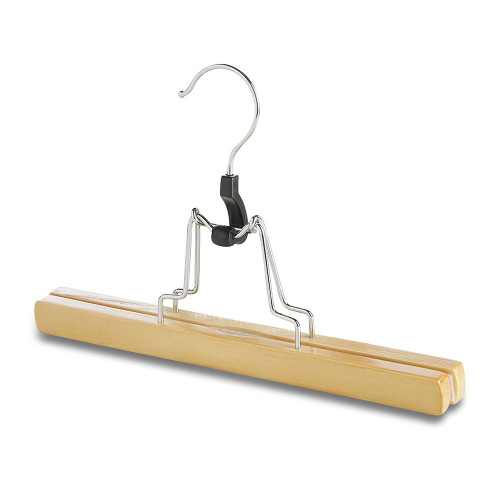 Pack of Wooden Trouser/Skirt Clamp Hanger with Velvet Liner