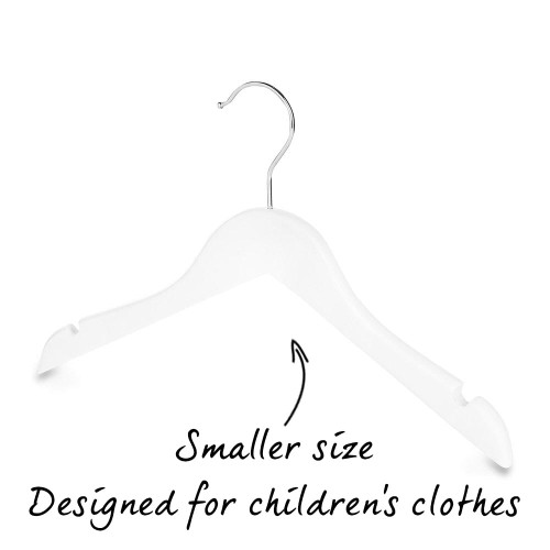 Pack of Matt White Children's Wooden Hangers with Shoulder Notches