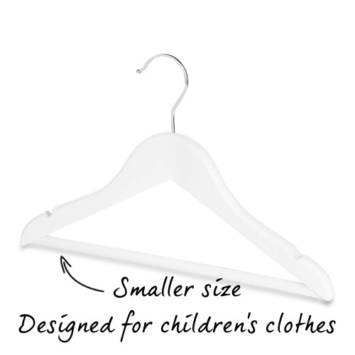 Pack of Matt White Children's Wooden Hangers with Trouser Bar