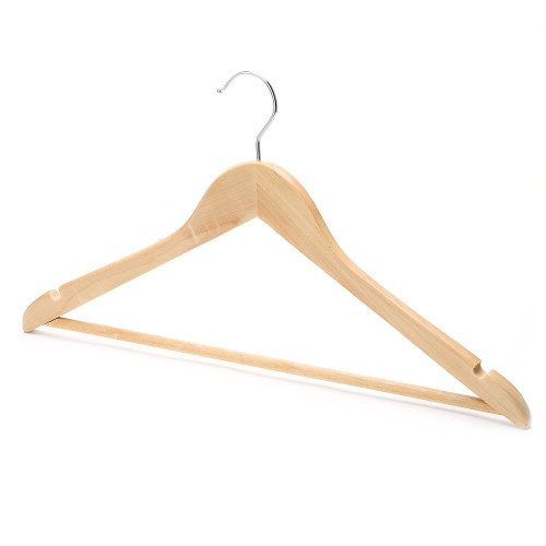 Pack of Wooden Hangers with Trouser Bar and Shoulder Notches