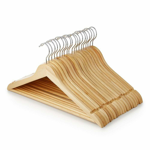 Pack of Wooden Flat Profile Hangers with Trouser Bar and Shoulder Notches